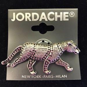 Vintage Jordache Leopard Silver Tone Pin Brooch